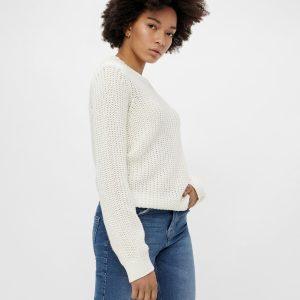 PIECES ls o-neck knit cloud dancer