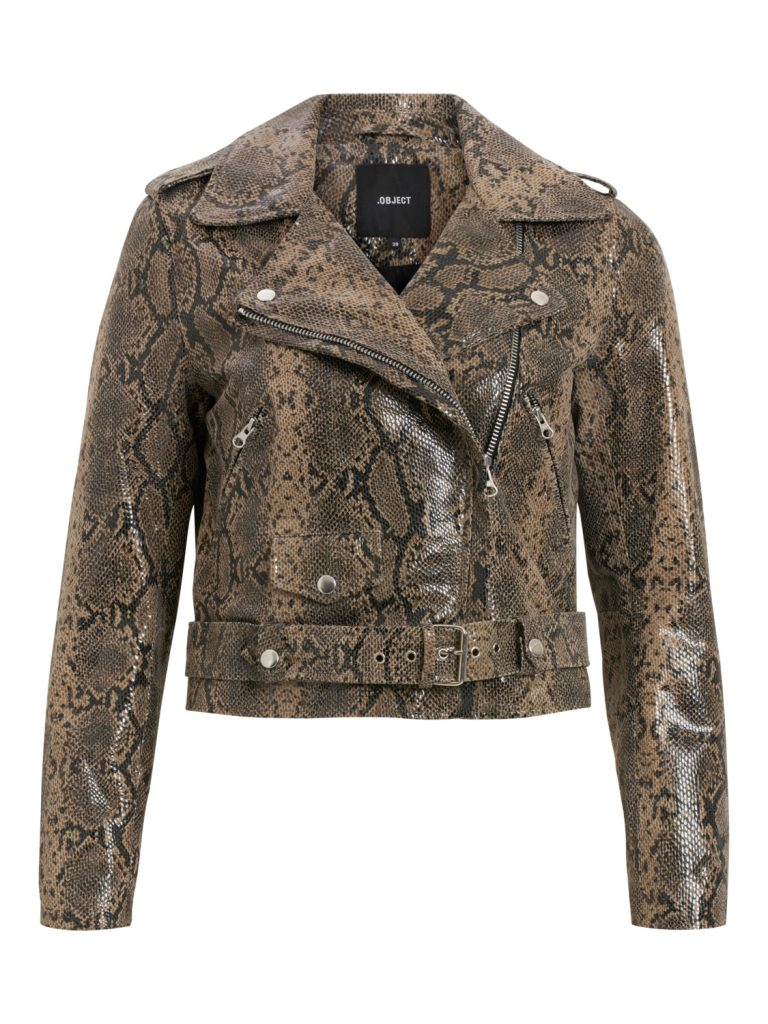OBJECT leather jacket humus