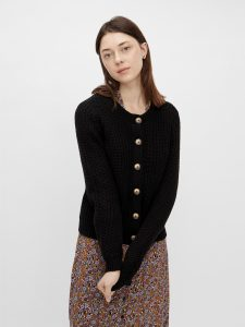 PIECES ls knit cardigan black