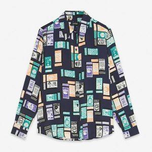 ottod'Ame shirt dark blue print