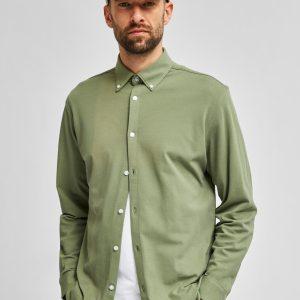 SELECTED homme knit flex shirt ls sea spray
