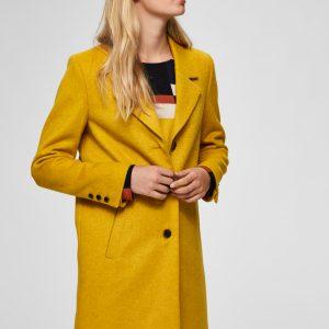 SELECTED femme wool coat lemon curry